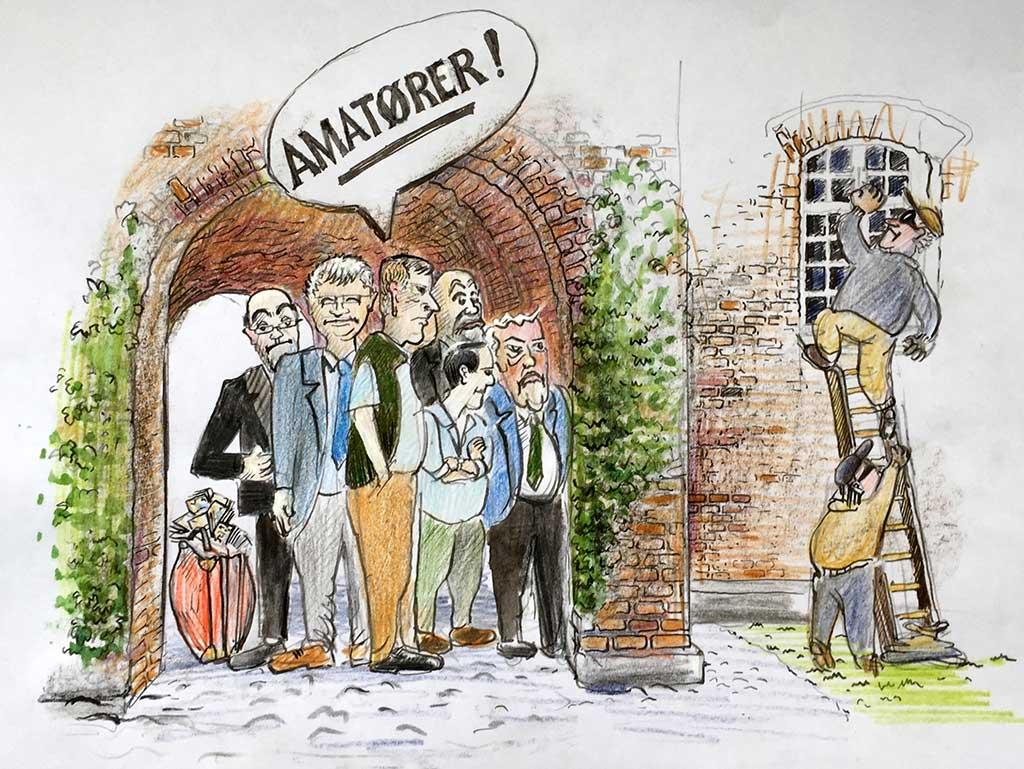 Gisselfeld striden handler om en ny bestyrelses overtagelse af godset. tegning af Jens Gregersen